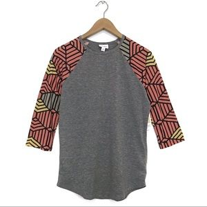 NWT LuLaRoe Randy Heathered Gray Raglan T-Shirt